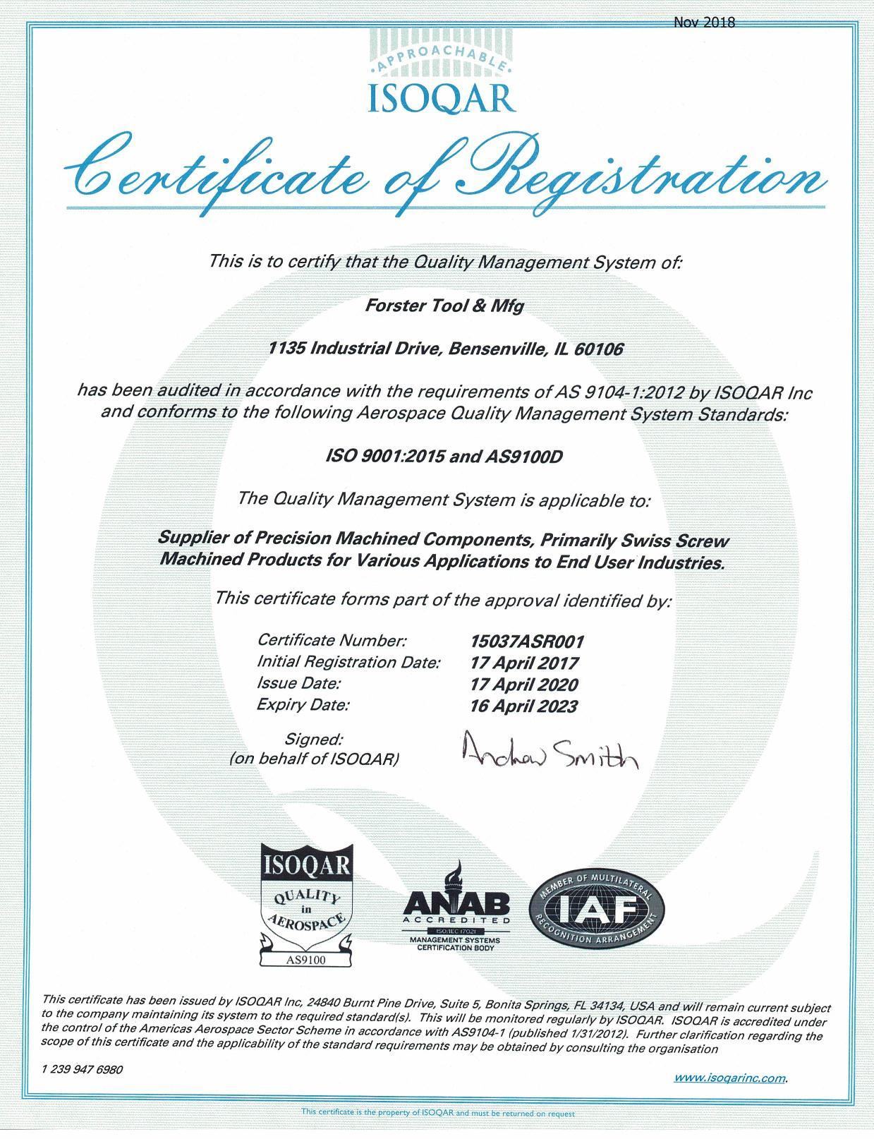 Forster Tool AS9100 rev D Certificate